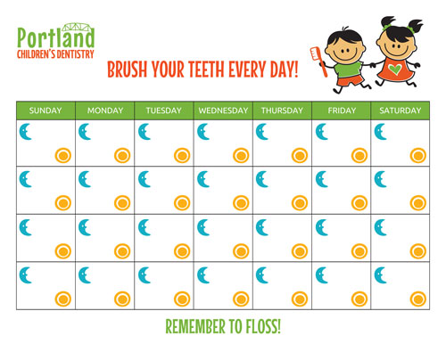 A help your child remember to brush their teeth calender.