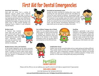 A chart that shows kids what to do in case of a tooth emergency.